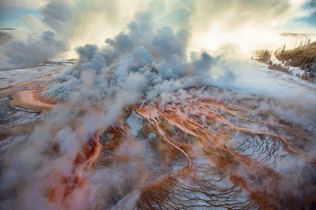 Grand Prismatic Spring at Minus 10 Degrees, Yellowstone National Park, Wyoming, 2014